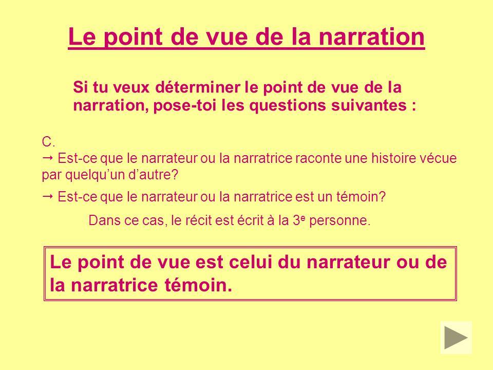 Le point de vue de la narration Comment repérer le point de vue de la narration dans un texte.