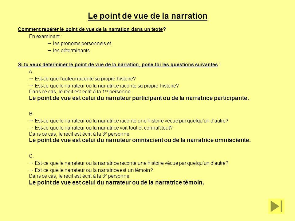 Le point de vue de la narration Comment repérer le point de vue de la narration dans un texte? En examinant : les pronoms personnels et les déterminan