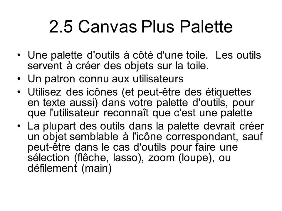 2.5 Canvas Plus Palette Une palette d'outils à côté d'une toile. Les outils servent à créer des objets sur la toile. Un patron connu aux utilisateurs