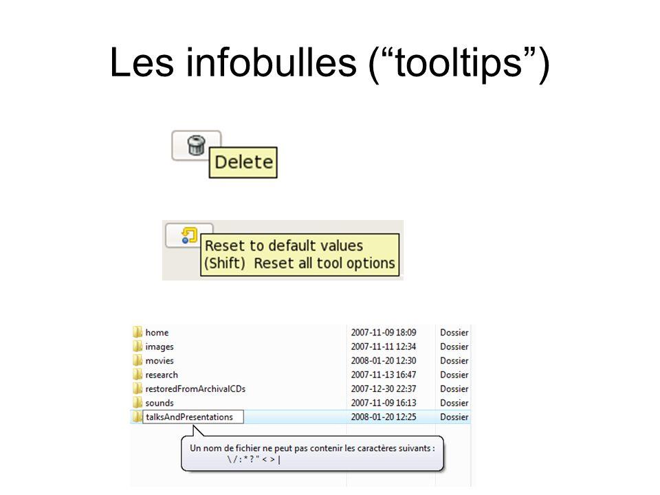 Les infobulles (tooltips)