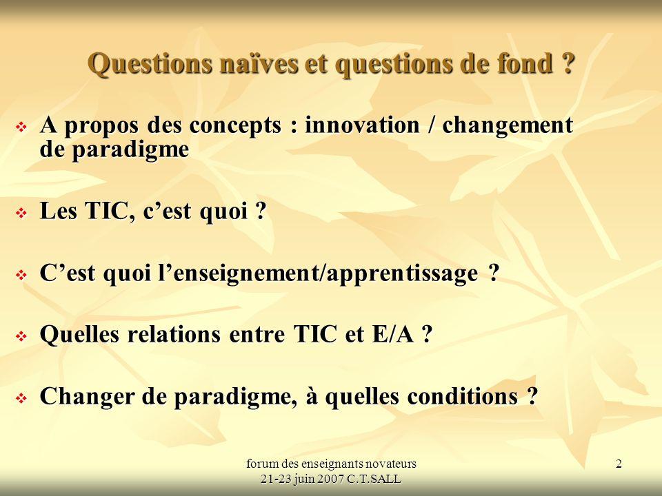 forum des enseignants novateurs 21-23 juin 2007 C.T.SALL 2 Questions naïves et questions de fond .