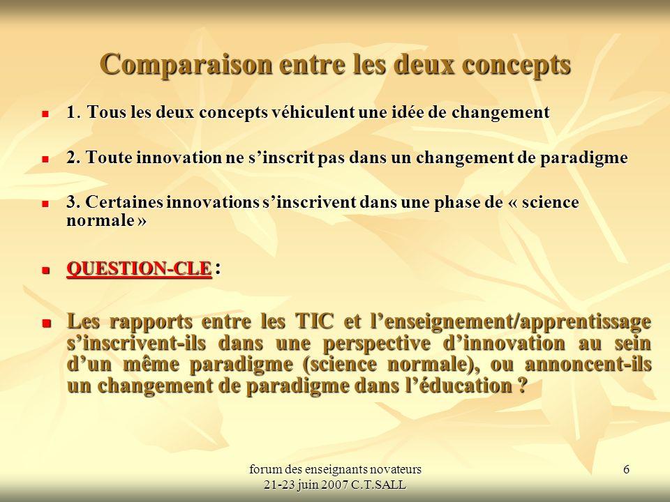 forum des enseignants novateurs 21-23 juin 2007 C.T.SALL 6 Comparaison entre les deux concepts 1.