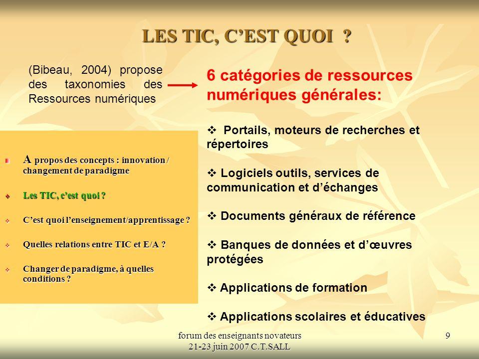 forum des enseignants novateurs 21-23 juin 2007 C.T.SALL 10 LES TIC, CEST QUOI .