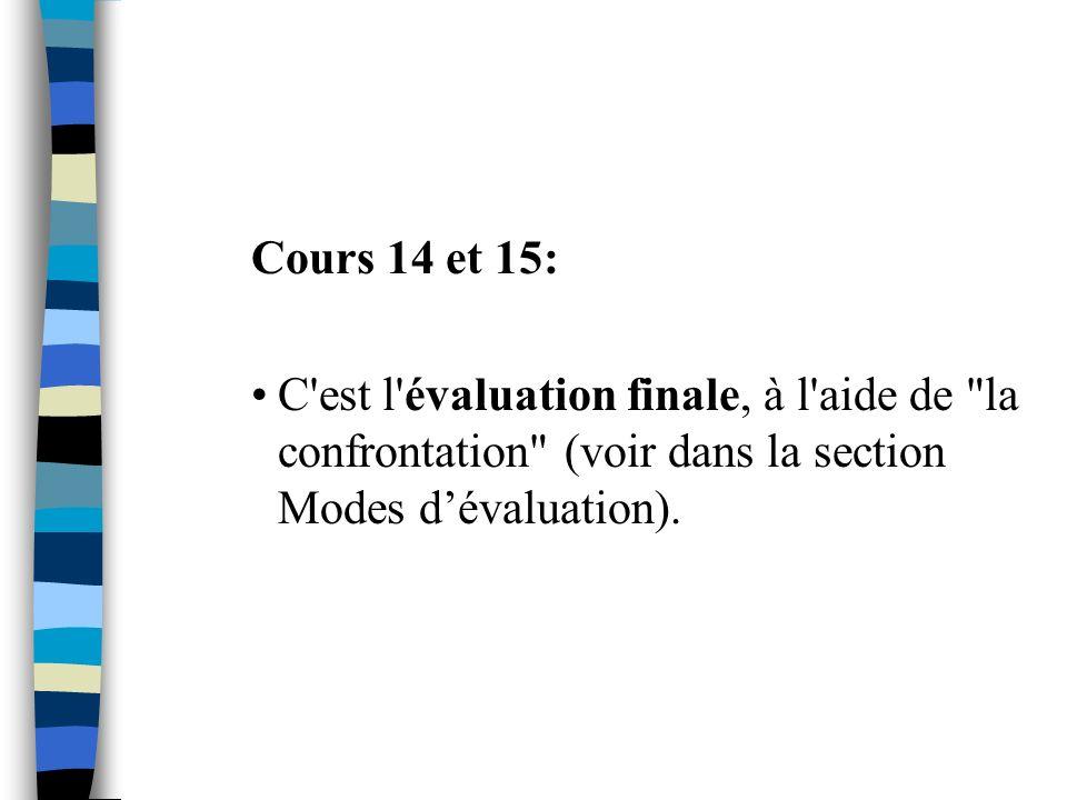 Cours 14 et 15: C'est l'évaluation finale, à l'aide de