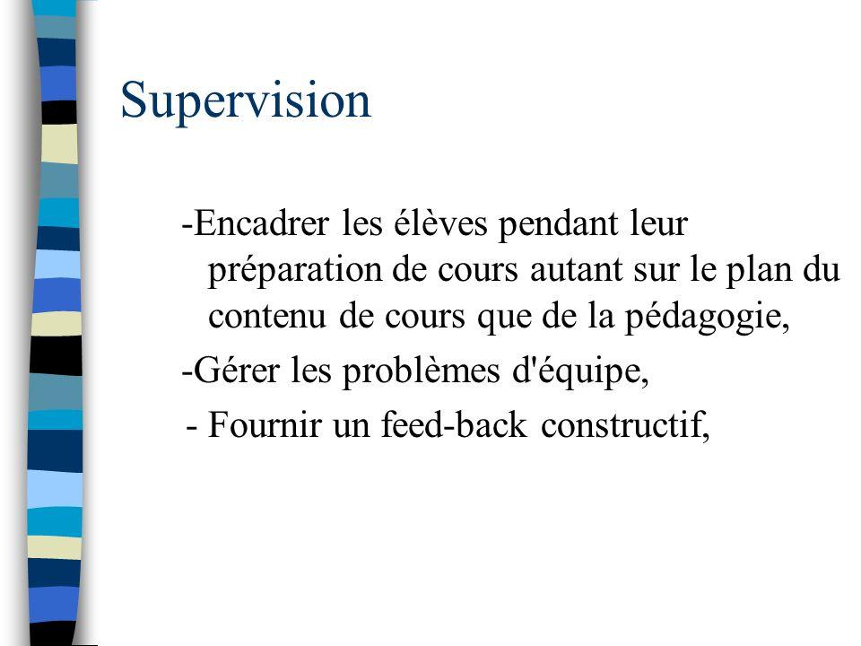 Supervision -Encadrer les élèves pendant leur préparation de cours autant sur le plan du contenu de cours que de la pédagogie, -Gérer les problèmes d'