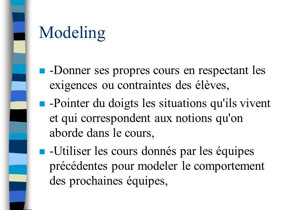 Modeling n -Donner ses propres cours en respectant les exigences ou contraintes des élèves, n -Pointer du doigts les situations qu'ils vivent et qui c