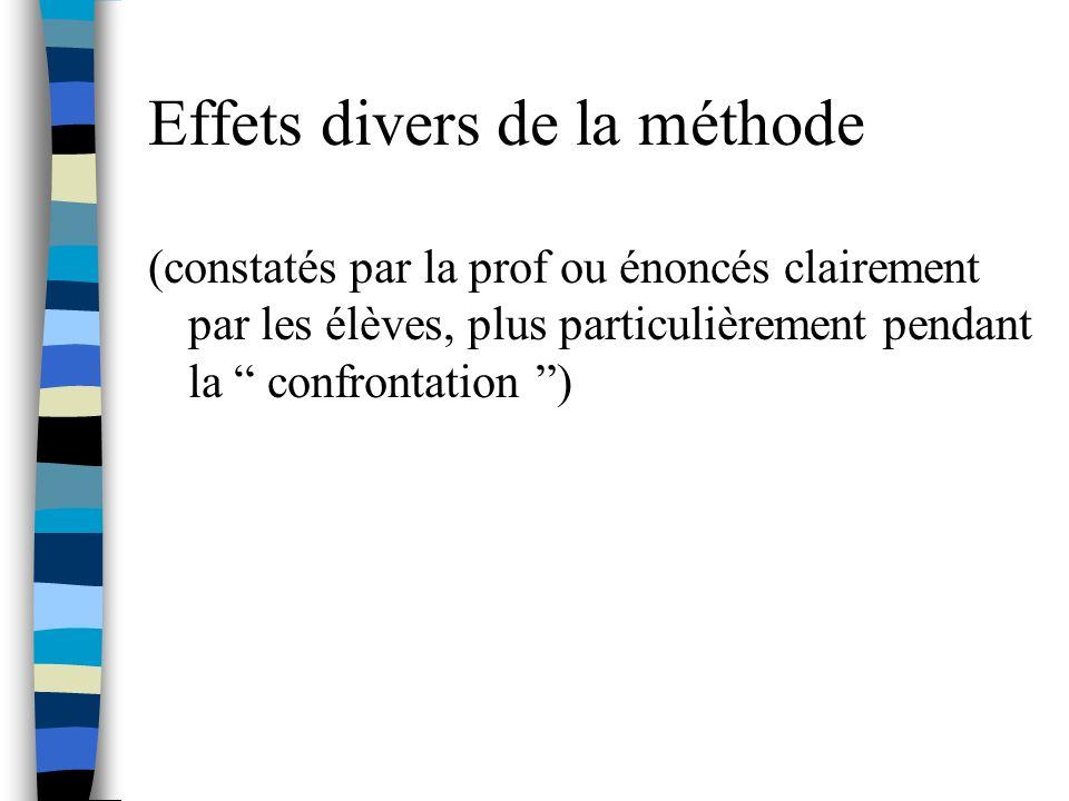 Effets divers de la méthode (constatés par la prof ou énoncés clairement par les élèves, plus particulièrement pendant la confrontation )