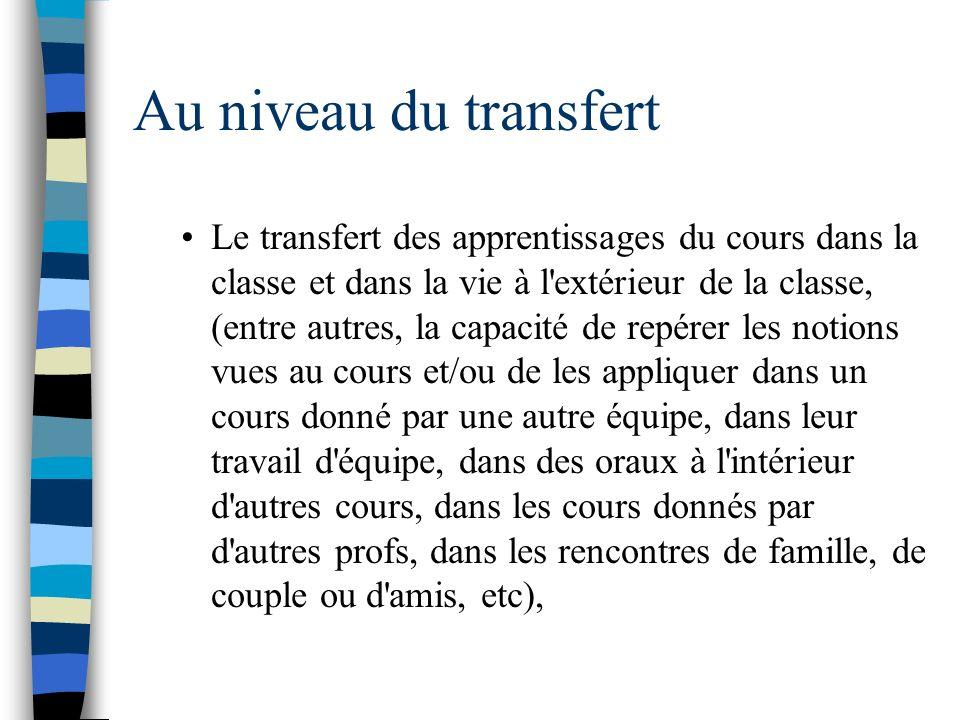 Au niveau du transfert Le transfert des apprentissages du cours dans la classe et dans la vie à l'extérieur de la classe, (entre autres, la capacité d