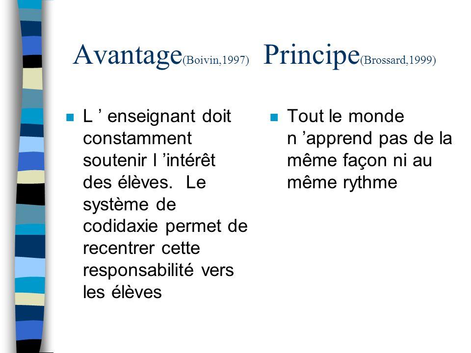 Avantage (Boivin,1997) Principe (Brossard,1999) n L enseignant doit constamment soutenir l intérêt des élèves. Le système de codidaxie permet de recen