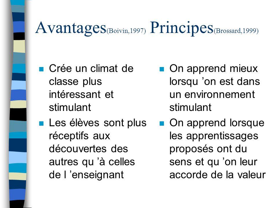 Avantages (Boivin,1997) Principes (Brossard,1999) n Crée un climat de classe plus intéressant et stimulant n Les élèves sont plus réceptifs aux découv