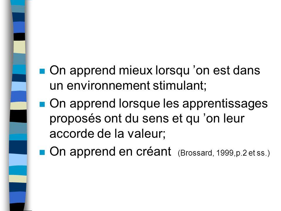 Avantages (Boivin,1997) Principe (Brossard,1999) n Les élèves cultivent une meilleure confiance en eux n Les élèves sont plus motivés n On apprend avec les autres