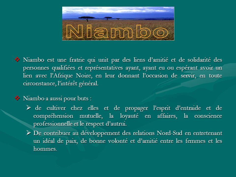 Niambo est une fratrie qui unit par des liens damitié et de solidarité des personnes qualifiées et représentatives ayant, ayant eu ou espérant avoir u