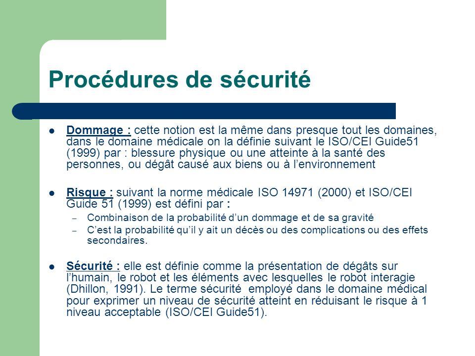Procédures de sécurité Dommage : cette notion est la même dans presque tout les domaines, dans le domaine médicale on la définie suivant le ISO/CEI Gu
