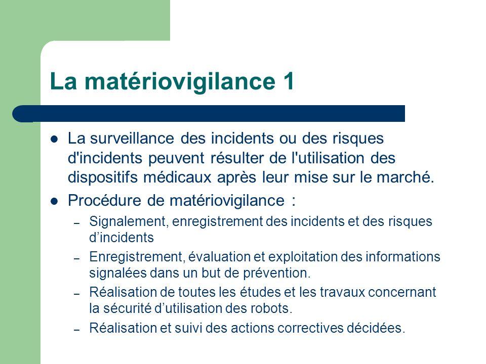 La matériovigilance 1 La surveillance des incidents ou des risques d'incidents peuvent résulter de l'utilisation des dispositifs médicaux après leur m