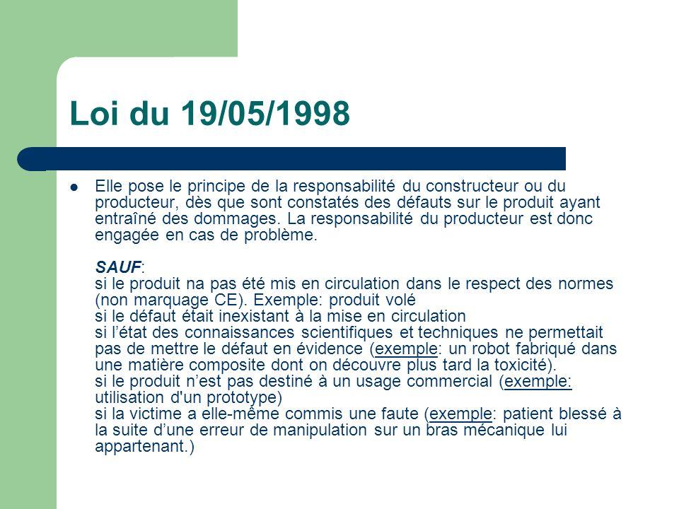 Loi du 19/05/1998 Elle pose le principe de la responsabilité du constructeur ou du producteur, dès que sont constatés des défauts sur le produit ayant