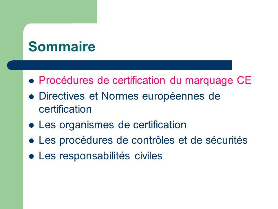 Sommaire Procédures de certification du marquage CE Directives et Normes européennes de certification Les organismes de certification Les procédures d