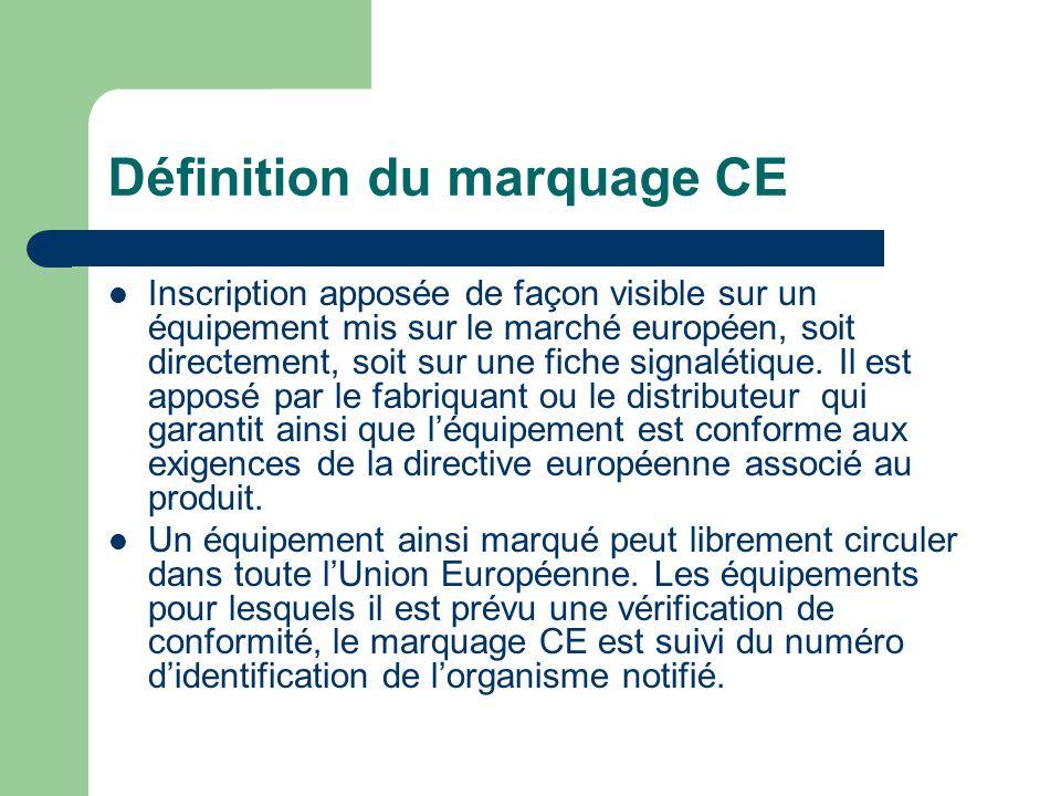 Définition du marquage CE Inscription apposée de façon visible sur un équipement mis sur le marché européen, soit directement, soit sur une fiche sign