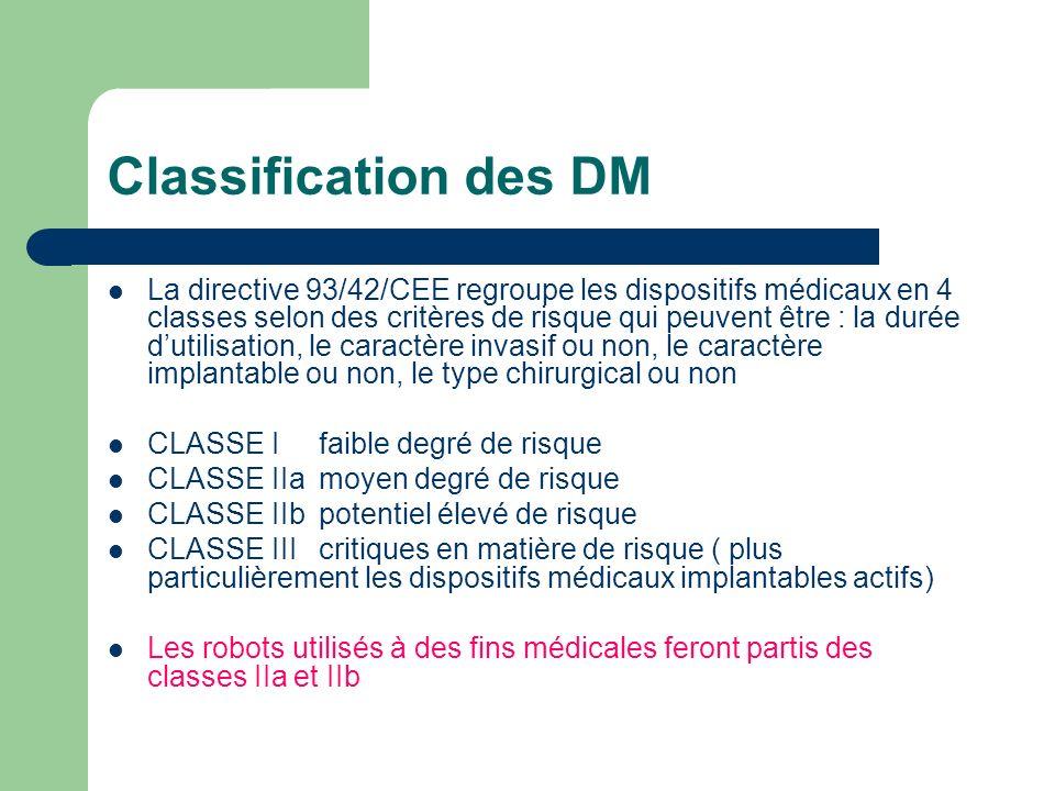 Classification des DM La directive 93/42/CEE regroupe les dispositifs médicaux en 4 classes selon des critères de risque qui peuvent être : la durée d
