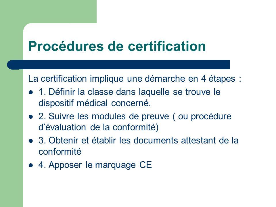 Procédures de certification La certification implique une démarche en 4 étapes : 1. Définir la classe dans laquelle se trouve le dispositif médical co