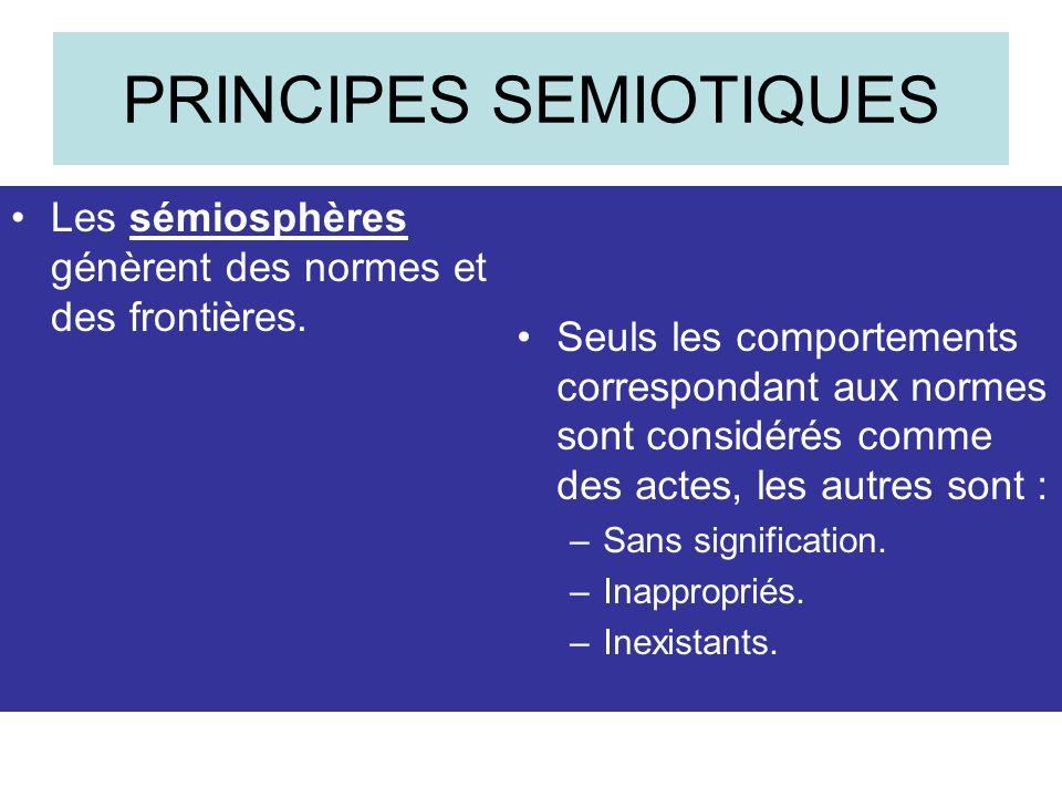 PRINCIPES SEMIOTIQUES Les sémiosphères génèrent des normes et des frontières.