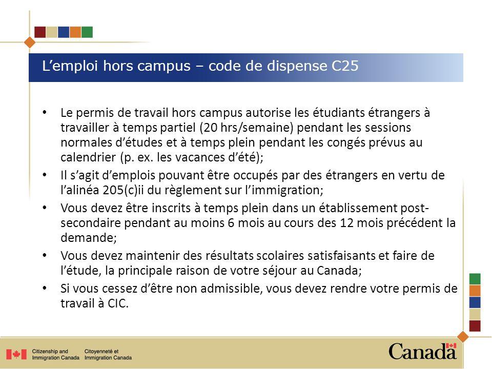 Le permis de travail hors campus autorise les étudiants étrangers à travailler à temps partiel (20 hrs/semaine) pendant les sessions normales détudes