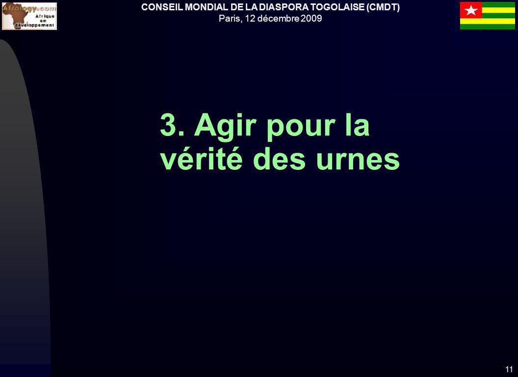 CONSEIL MONDIAL DE LA DIASPORA TOGOLAISE (CMDT) Paris, 12 décembre 2009 3. Agir pour la vérité des urnes 11