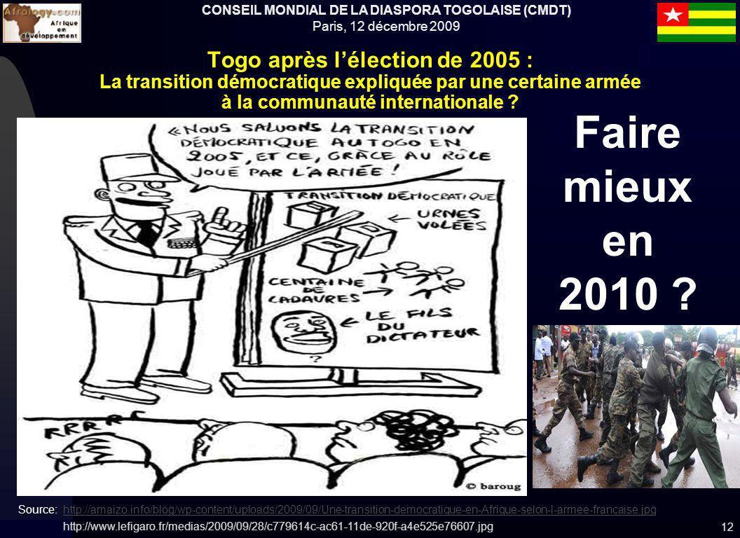 CONSEIL MONDIAL DE LA DIASPORA TOGOLAISE (CMDT) Paris, 12 décembre 2009 12 Togo après lélection de 2005 : La transition démocratique expliquée par une certaine armée à la communauté internationale .