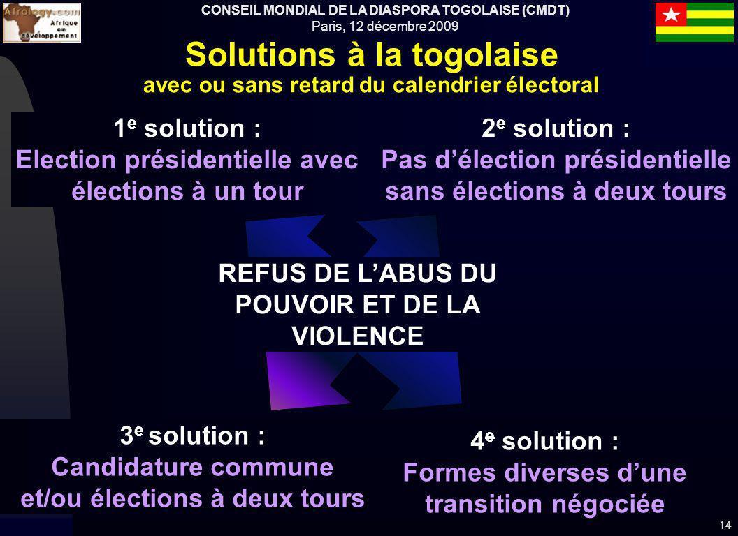 CONSEIL MONDIAL DE LA DIASPORA TOGOLAISE (CMDT) Paris, 12 décembre 2009 14 Solutions à la togolaise avec ou sans retard du calendrier électoral 3 e so