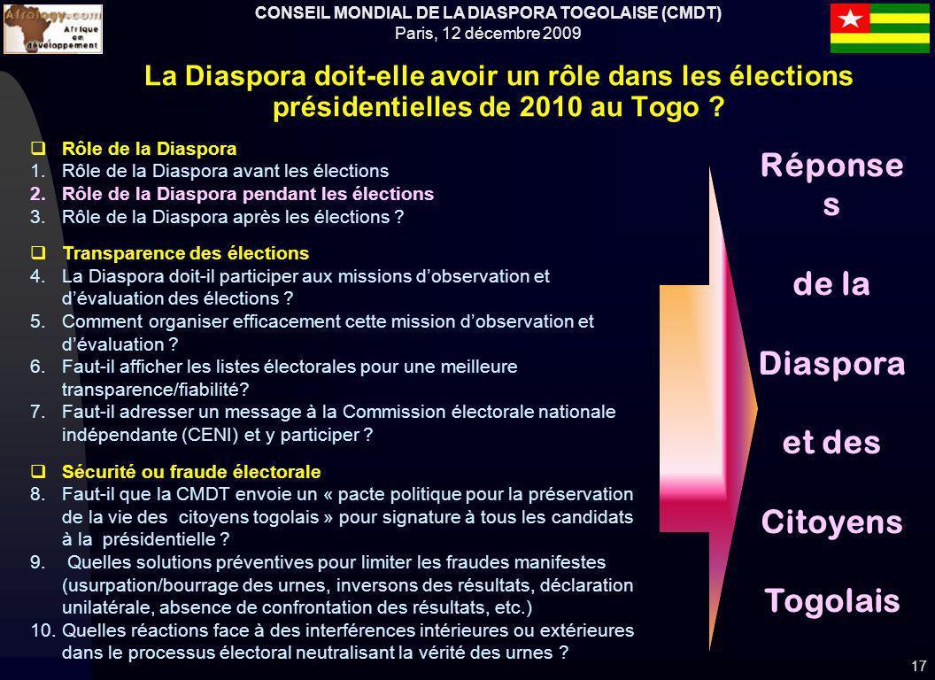 CONSEIL MONDIAL DE LA DIASPORA TOGOLAISE (CMDT) Paris, 12 décembre 2009 17 Rôle de la Diaspora 1.Rôle de la Diaspora avant les élections 2.Rôle de la Diaspora pendant les élections 3.Rôle de la Diaspora après les élections .