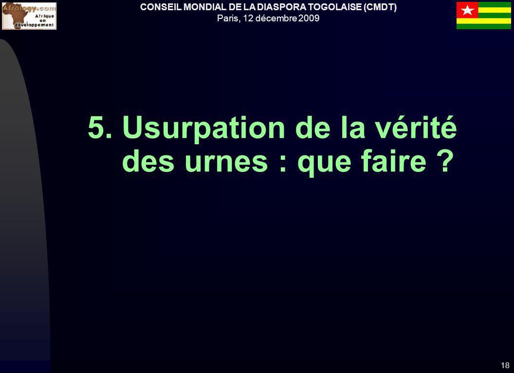 CONSEIL MONDIAL DE LA DIASPORA TOGOLAISE (CMDT) Paris, 12 décembre 2009 5. Usurpation de la vérité des urnes : que faire ? 18