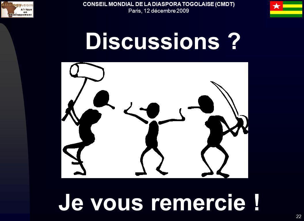 CONSEIL MONDIAL DE LA DIASPORA TOGOLAISE (CMDT) Paris, 12 décembre 2009 22 Je vous remercie ! Discussions ?