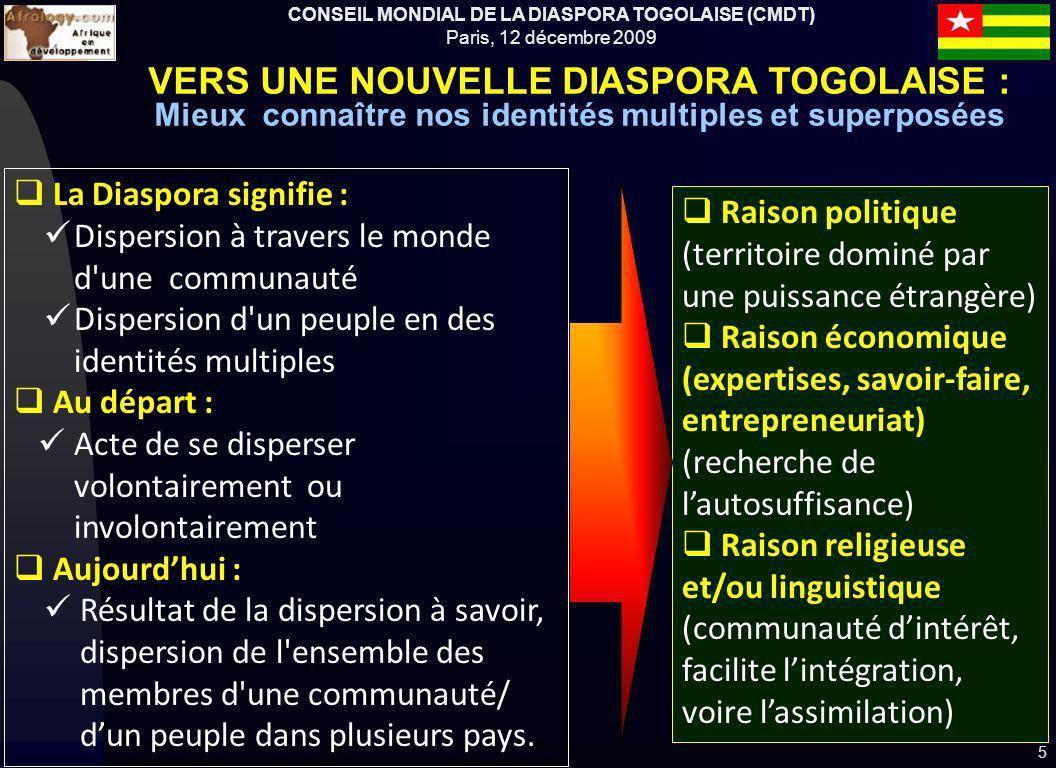 CONSEIL MONDIAL DE LA DIASPORA TOGOLAISE (CMDT) Paris, 12 décembre 2009 Raison politique (territoire dominé par une puissance étrangère) Raison économ
