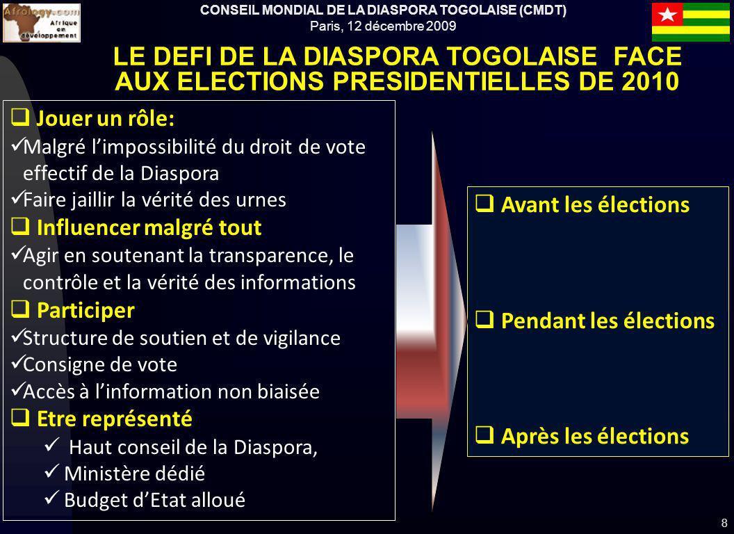 CONSEIL MONDIAL DE LA DIASPORA TOGOLAISE (CMDT) Paris, 12 décembre 2009 Avant les élections Pendant les élections Après les élections 8 LE DEFI DE LA