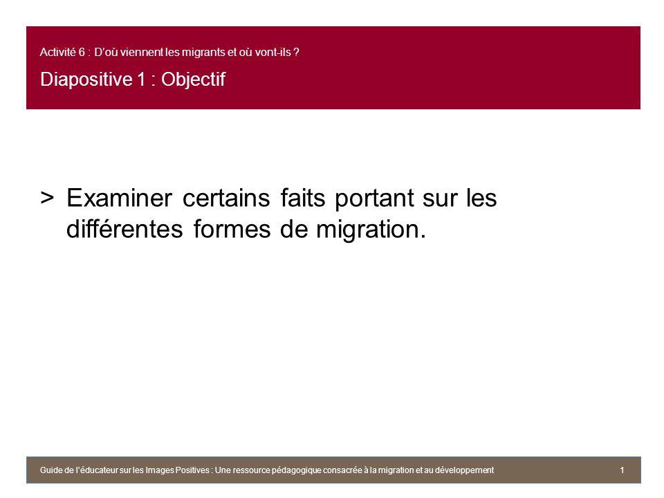 Activité 6 : Doù viennent les migrants et où vont-ils ? Diapositive 1 : Objectif >Examiner certains faits portant sur les différentes formes de migrat