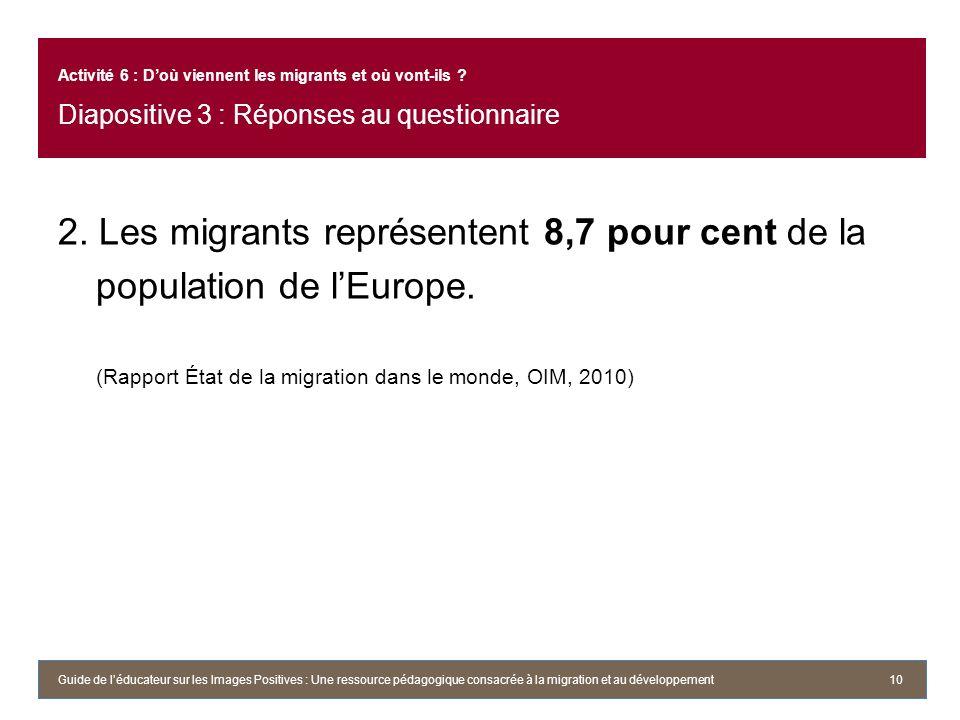 2. Les migrants représentent 8,7 pour cent de la population de lEurope. (Rapport État de la migration dans le monde, OIM, 2010) 10 Activité 6 : Doù vi