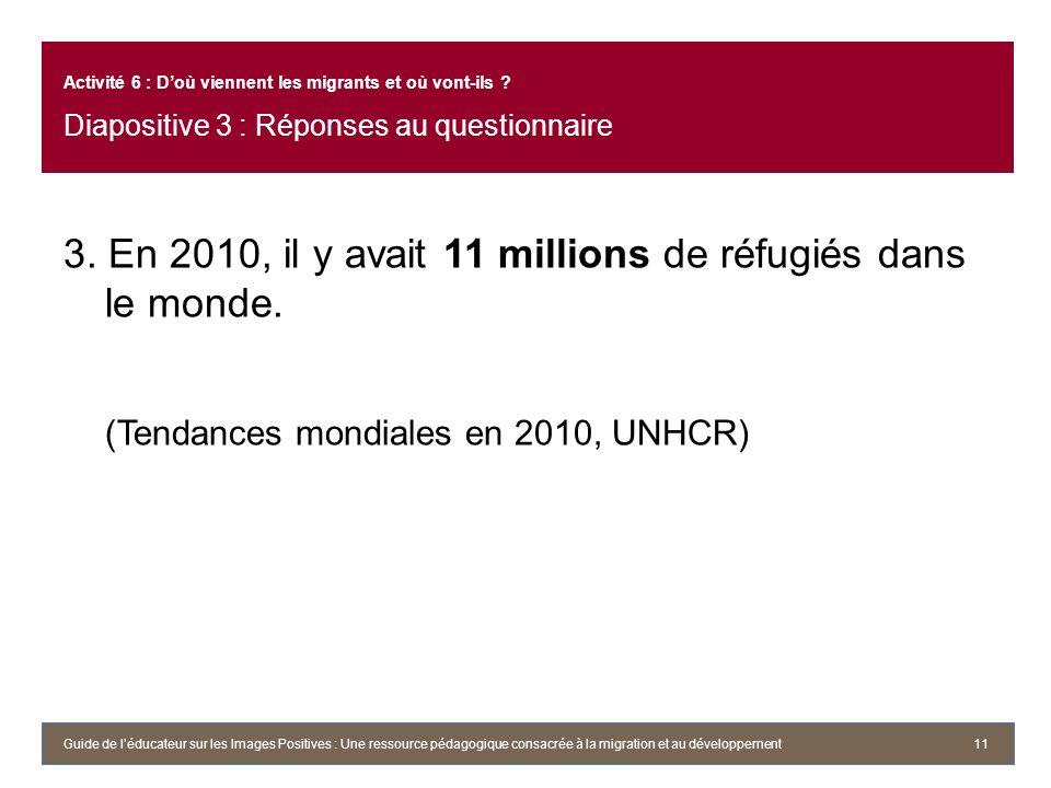 3. En 2010, il y avait 11 millions de réfugiés dans le monde. (Tendances mondiales en 2010, UNHCR) 11 Activité 6 : Doù viennent les migrants et où von