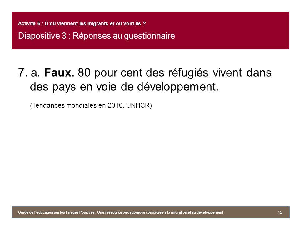 7. a. Faux. 80 pour cent des réfugiés vivent dans des pays en voie de développement. (Tendances mondiales en 2010, UNHCR) 15 Activité 6 : Doù viennent