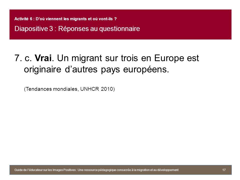 7. c. Vrai. Un migrant sur trois en Europe est originaire dautres pays européens. (Tendances mondiales, UNHCR 2010) 17 Activité 6 : Doù viennent les m