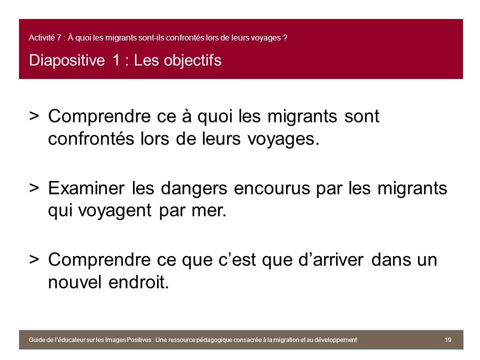 Activité 7 : À quoi les migrants sont-ils confrontés lors de leurs voyages ? Diapositive 1 : Les objectifs >Comprendre ce à quoi les migrants sont con