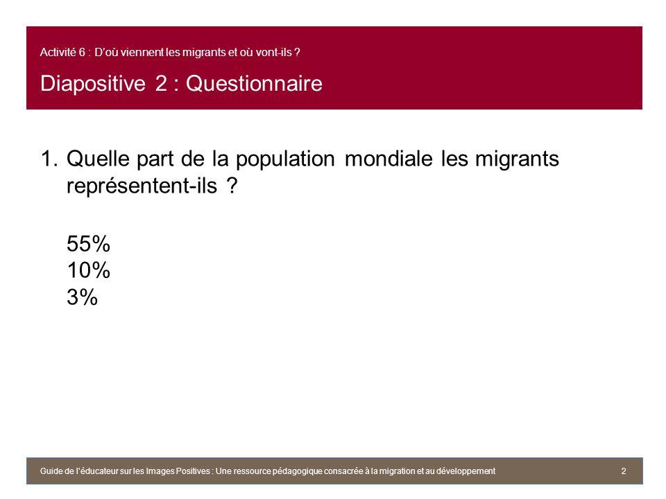 Activité 6 : Doù viennent les migrants et où vont-ils ? Diapositive 2 : Questionnaire 1.Quelle part de la population mondiale les migrants représenten