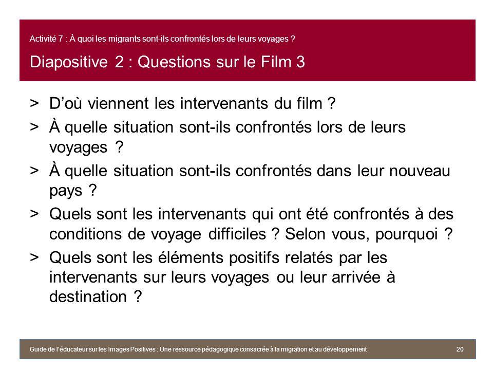 Activité 7 : À quoi les migrants sont-ils confrontés lors de leurs voyages ? Diapositive 2 : Questions sur le Film 3 >Doù viennent les intervenants du