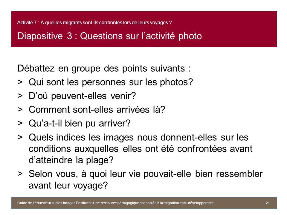 Activité 7 : À quoi les migrants sont-ils confrontés lors de leurs voyages ? Diapositive 3 : Questions sur lactivité photo Débattez en groupe des poin