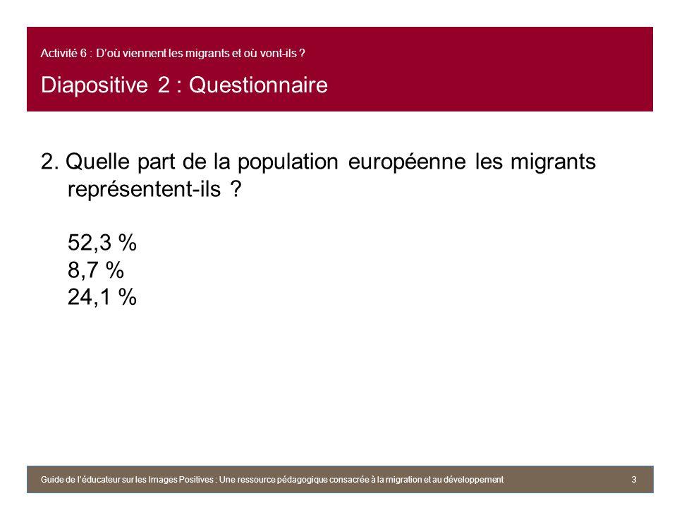 Activité 6 : Doù viennent les migrants et où vont-ils ? Diapositive 2 : Questionnaire 2. Quelle part de la population européenne les migrants représen