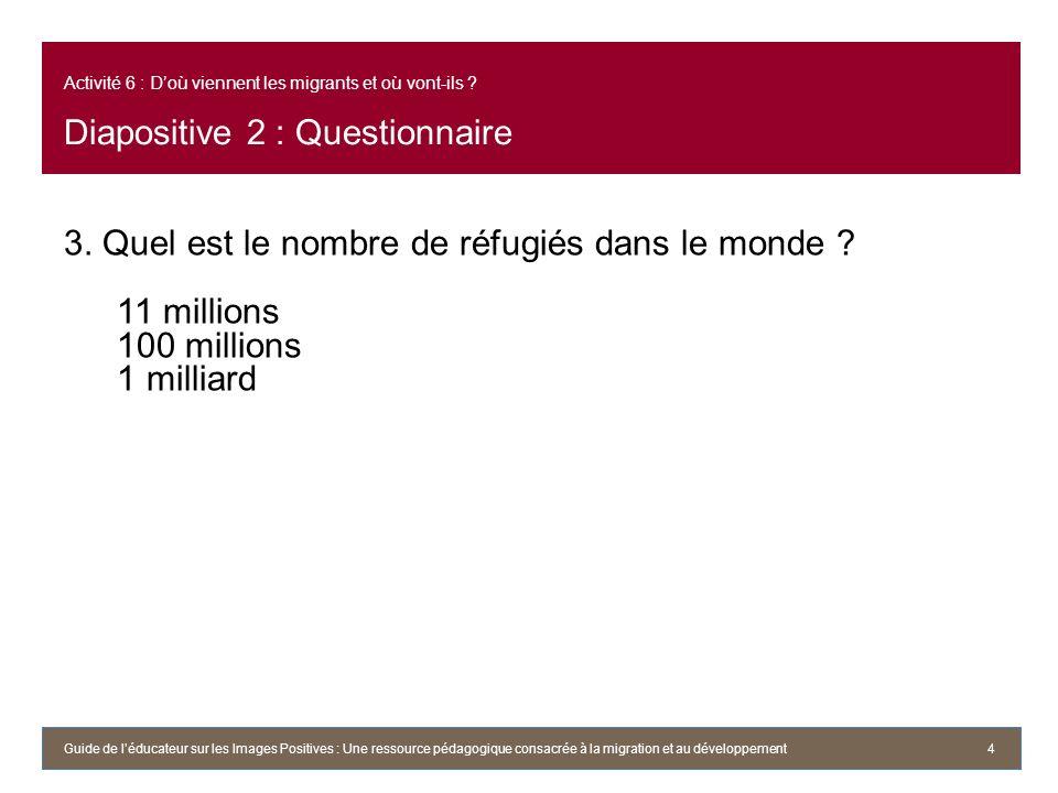 Activité 6 : Doù viennent les migrants et où vont-ils ? Diapositive 2 : Questionnaire 3. Quel est le nombre de réfugiés dans le monde ? 11 millions 10