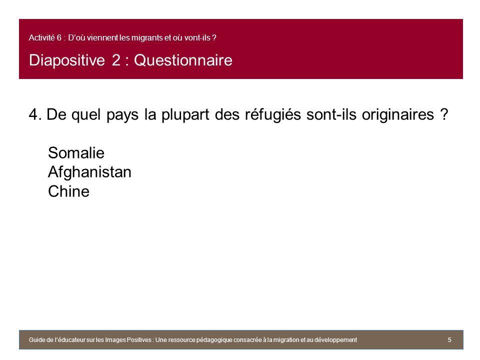 Activité 6 : Doù viennent les migrants et où vont-ils ? Diapositive 2 : Questionnaire 4. De quel pays la plupart des réfugiés sont-ils originaires ? S