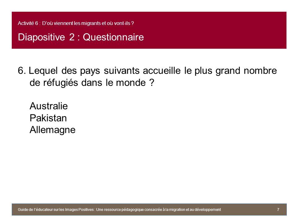 Activité 6 : Doù viennent les migrants et où vont-ils ? Diapositive 2 : Questionnaire 6. Lequel des pays suivants accueille le plus grand nombre de ré