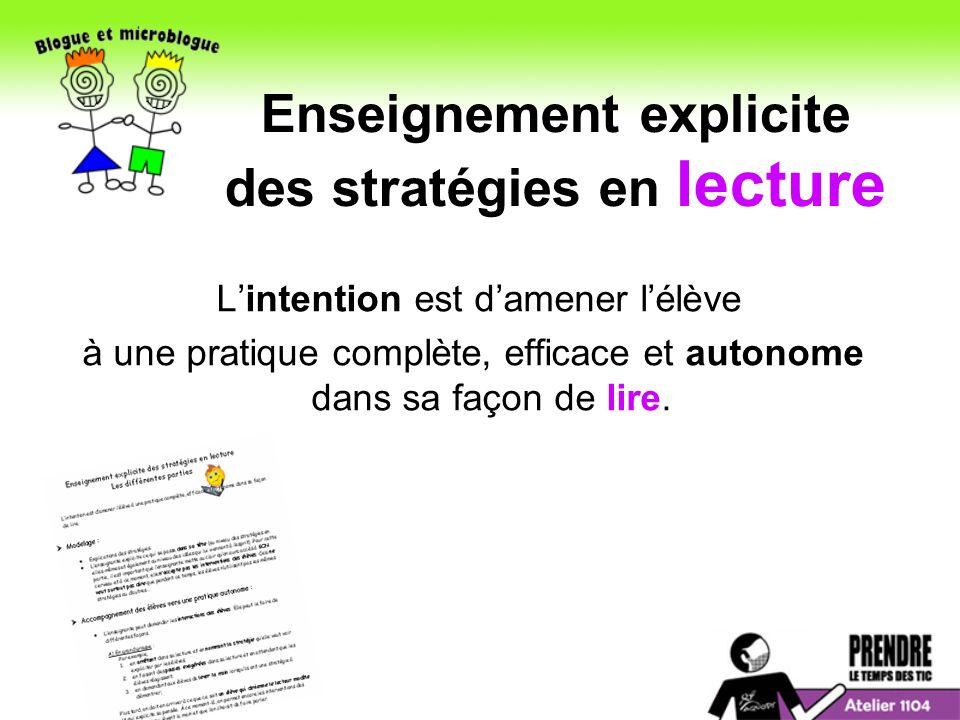Enseignement explicite des stratégies en lecture Lintention est damener lélève à une pratique complète, efficace et autonome dans sa façon de lire.