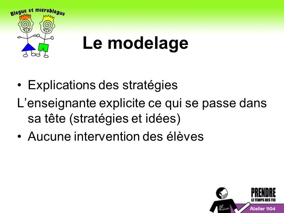 Explications des stratégies Lenseignante explicite ce qui se passe dans sa tête (stratégies et idées) Aucune intervention des élèves Le modelage