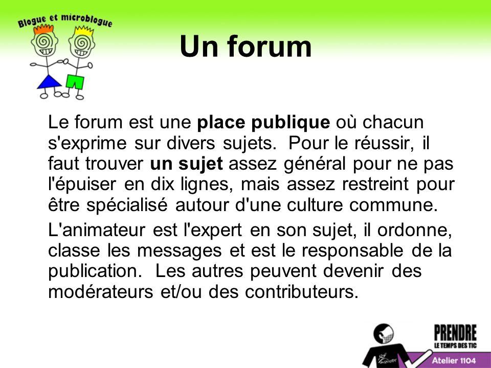 Un forum Le forum est une place publique où chacun s exprime sur divers sujets.