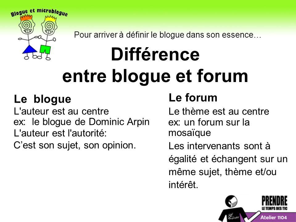 Différence entre blogue et forum Le blogue L auteur est au centre ex: le blogue de Dominic Arpin L auteur est l autorité: Cest son sujet, son opinion.